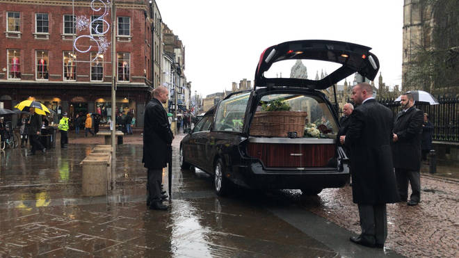 Mr Merritt's funeral cortege arrives at church