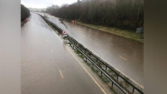 The flooded M23 motorway yesterday