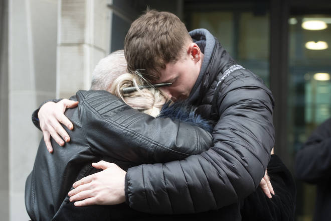 Harry Dunn mother Charlotte Charles (centre) and stepfather Bruce Charles (left) outside the Ministry Of Justice in London after meeting with the Director of Public Prosecutions. Anne Sacoolas has been charged with causing death by dangerous driving