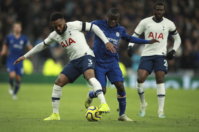 Tottenham's Danny Rose, left, is challenged by Chelsea's N'Golo Kante during the English Premier League soccer match between Tottenham Hotspur and Chelsea