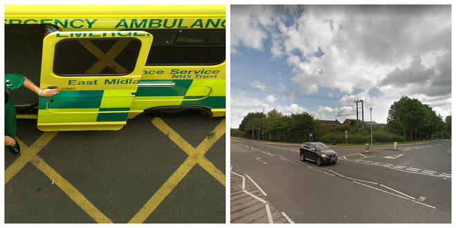 The girl was hit by an East Midlands Ambulance Service vehicle on Low Wood Road on Sunday