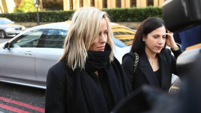 Caroline Flack (left) pleaded not guilty on Monday