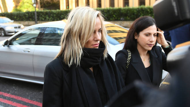 Caroline Flack (left) pleaded not guilty on Monday