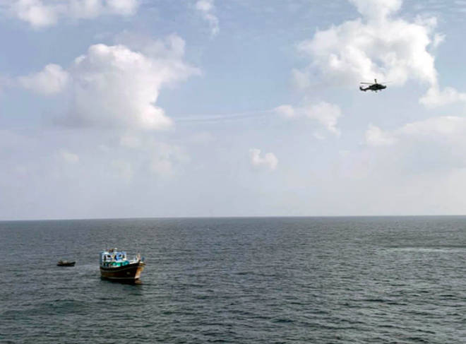 Royal Marines seized the goods with the assistance of the Wildcat helicopter