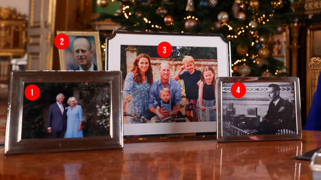 The four photos on show during the Queen's Speech