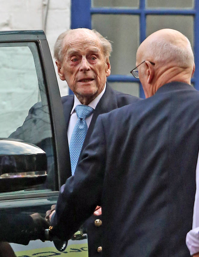 The Duke gets in his Range Rover as he leaves hospital