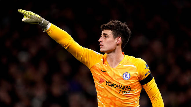 A cup was hurled at Chelsea goalkeeper Kepa Arrizabalaga during Sunday's Premier League game