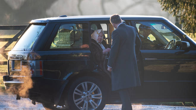 Queen arrives at church by car
