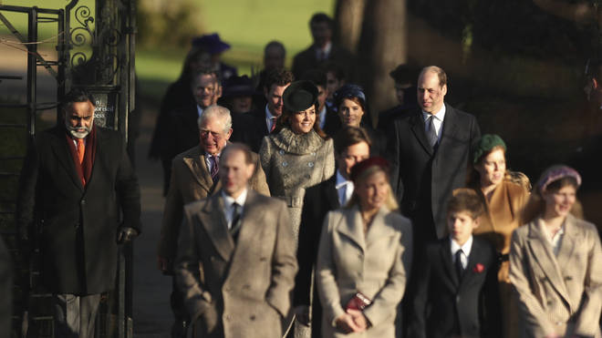 Britain's Prince William, Duke of Cambridge and Catherine, Duchess of Cambridge, center, arrive with other members of the royal family to attend a Christmas day service at the St Mary Magdalene Church in Sandringham