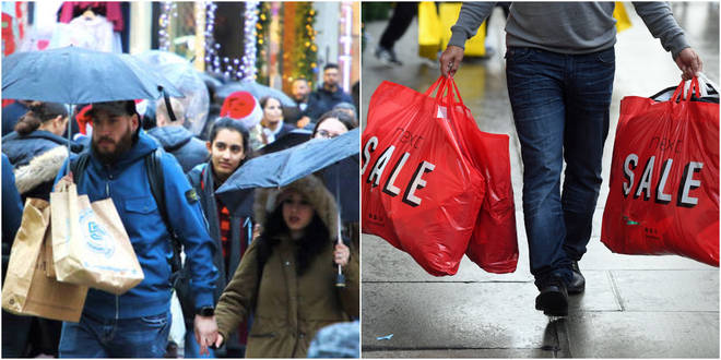 Shoppers had to face the rain on Boxing Day