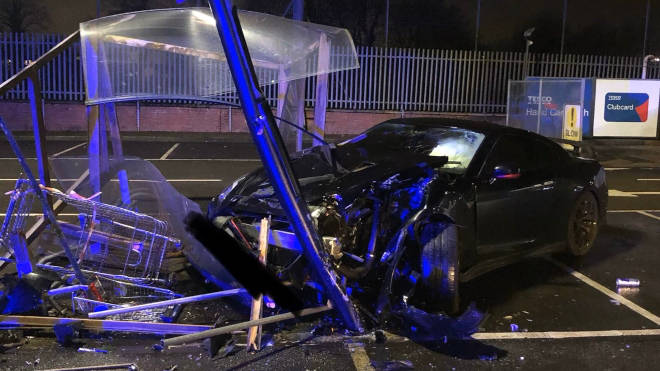 The scene of the crash in a Tesco car park