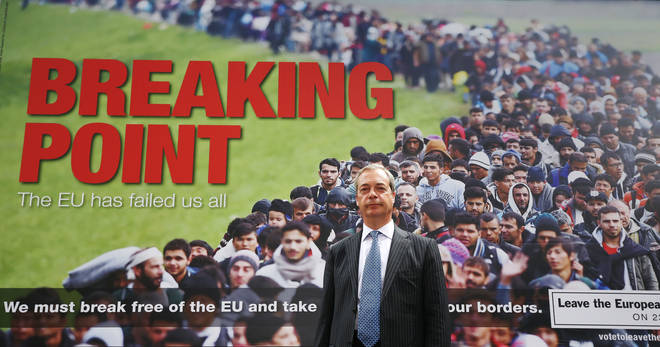 The two callers argued over whether Nigel Farage's breaking point poster was racist