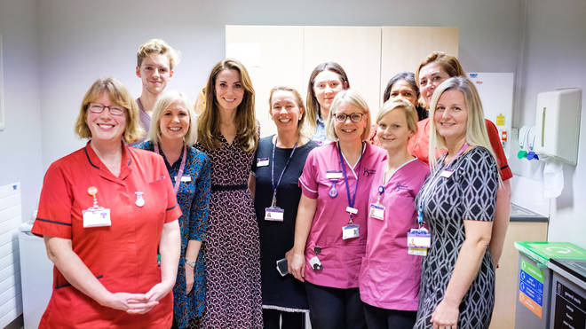 The Duchess of Cambridge joined midwives at Kingston Hospital