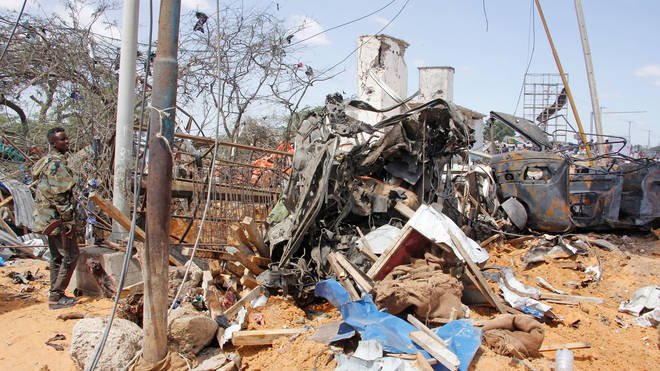 Wreckage left by the truck bomb in Mogadishu