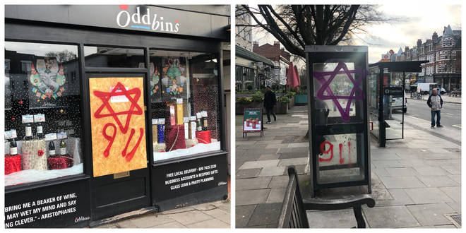 Anti-semitic graffiti in south Hampstead