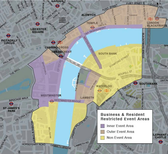 London pedestrian restriction and restricted event areas map