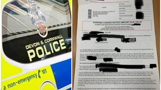 Devon and Cornwall Police are urging a parking ticket to be rescinded after it was slapped on a vehicle during a call out