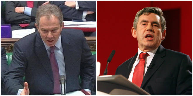 Tony Blair (L) and Gordon Brown (R) both served as prime ministers during the noughties