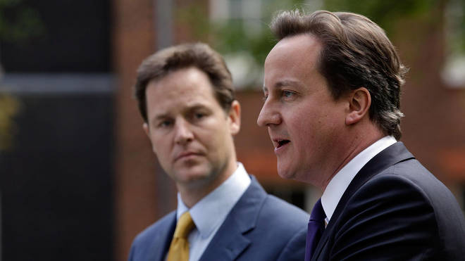 Nick Clegg (L) and David Cameron (R) formed the Coalition government in 2010