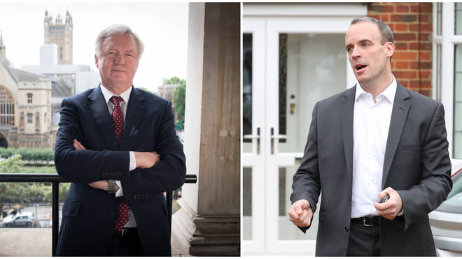 David Davis (L) and Dominic Raab (R) both stepped down as Brexit Secretary in 2018