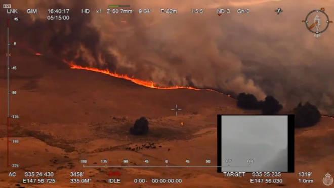 An aerial view of a bushfire in Ellerslie