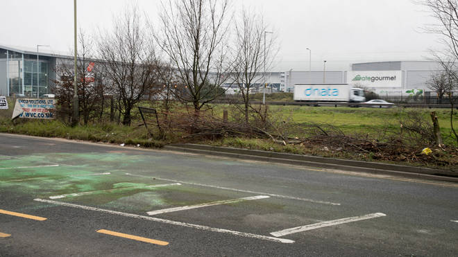 The scene of the crash in Stanwell near Heathrow Airport