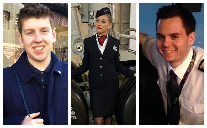 Dominic Fell, left, Rachel Clark and Joe Finnis were killed in the collision in Surrey