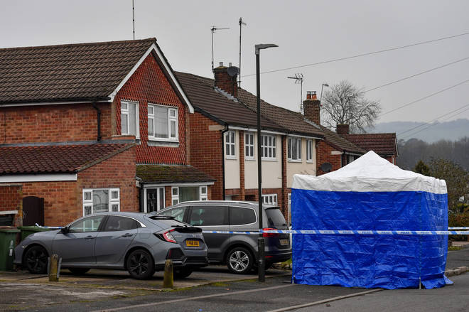 The scene outside Ms Almey's home in Duffield