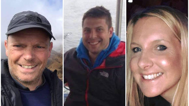 Rhys Hancock (centre) has been charged with the murders of Helen Almey and Martin Griffiths