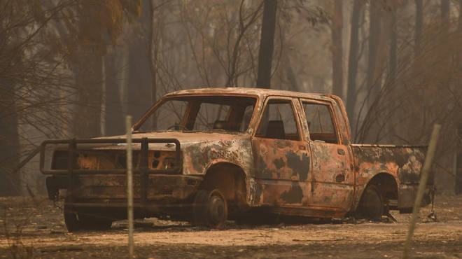 A burnt out car in Victoria