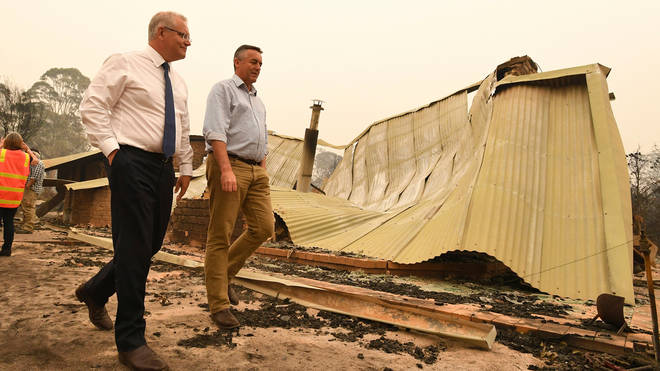 Prime Minister Scott Morrison has been visiting towns hit by the fires