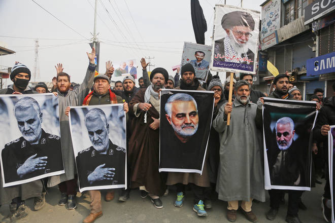 Kashmiri Shiite Muslims protesting against the US airstrike which killed Qassem Soleimani