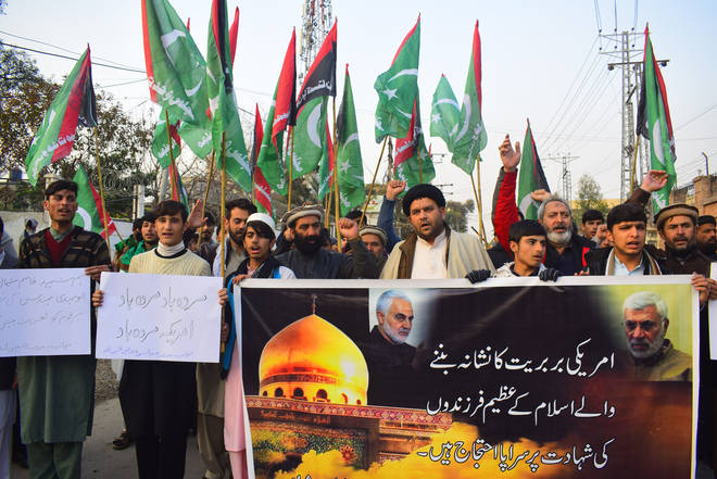 Protest rallies in Pakistan against Gen Qassim Soleimani's killing.