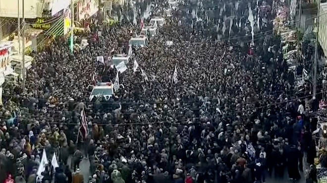 Iranians gather for the funeral of General Qassem Soleimani