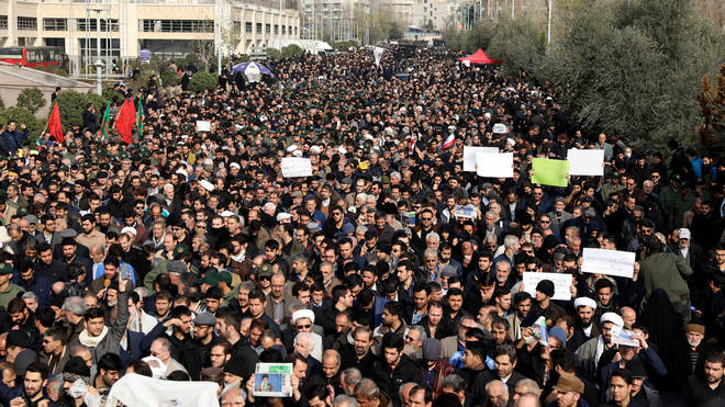 Protesters gather in Tehran to demonstrate against General Soleimani's assassination