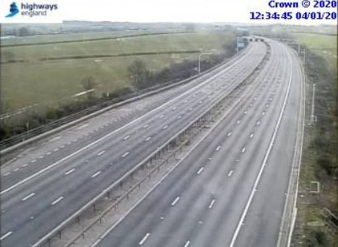 The M1 is closed between junctions 12 and 13