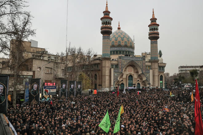 Thousands took to the streets in Iran to mourn the death of Soleimani