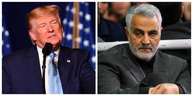 President Donald Trump (left) threatened to target Iran if it retaliates for the killing of General Soleimani