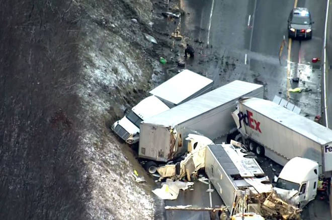 Five people have been killed and 60 injured in a major crash in America