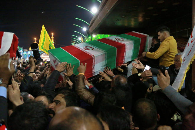 Iraq earlier voted in favour of expelling foreign forces from its borders. The funeral of Soleimani is shown