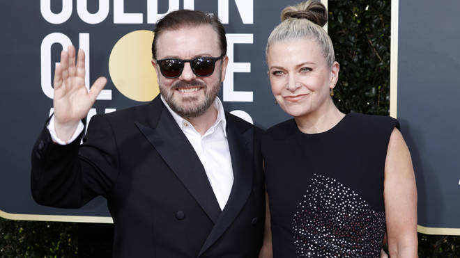 Ricky Gervais and his partner Jane Fallon on the red carpet
