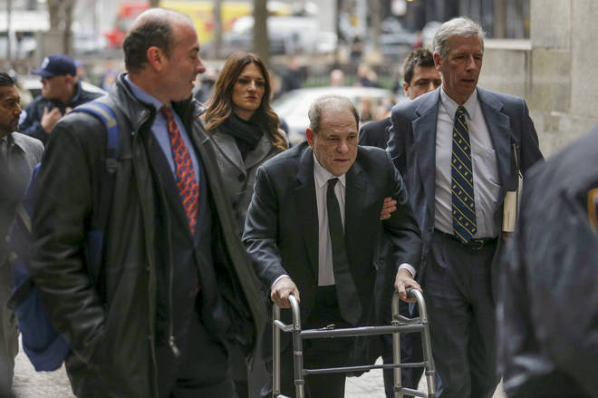 Harvey Weinstein arrived at court with a walking frame