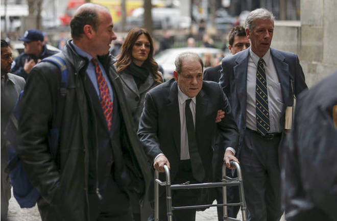 Harvey Weinstein arrived at court with a walking frame.