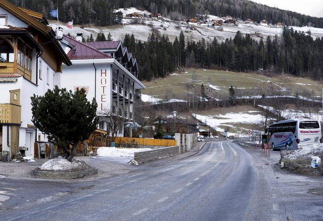 General view on a street where a car had plowed into a group of people in Luttach, near Bruneck in the northern region South Tirol, Italy