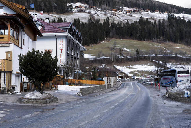 General view on a street where a car had plowed into a group of people in Luttach, near Bruneck in the northern region South Tirol, Italy.