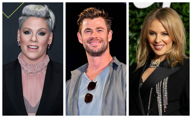 Pink, Chris Hemsworth and Kylie Minogue have all pledged money