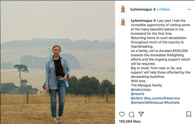 Kylie Minogue announced her donation on Instagram