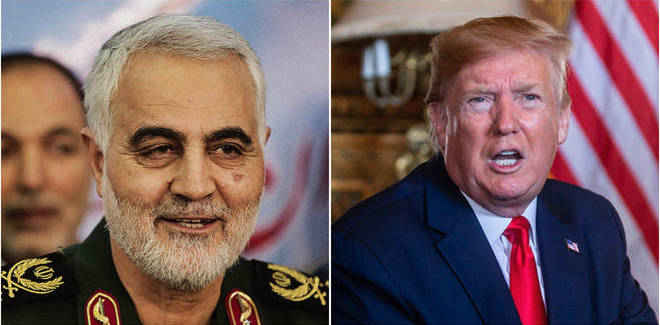 """Donald Trump has insisted he ordered the killing of Iranian General Qassem Soleimani to """"stop a war"""""""