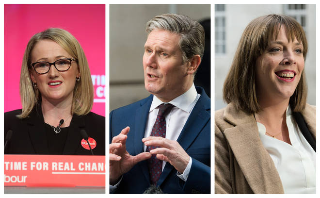 (left to right) Rebecca Long Bailey, Sir Keir Starmer and Jess Phillips