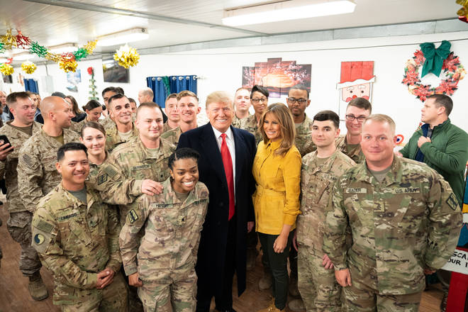 Mr Trump visited al-Asad airbase with the First Lady in December 2018